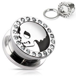 Silver Tone Skull Screw On Flared Tunnel Plug (00 G) Jewel Encrusted (10mm)