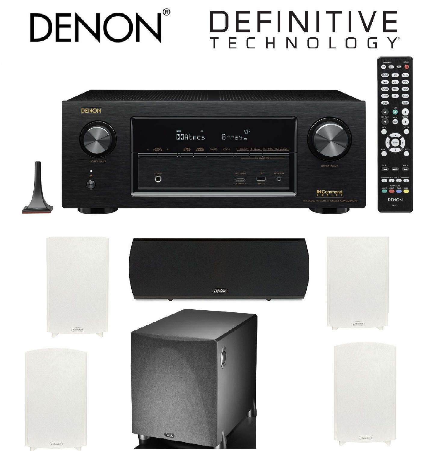 Denon AVR-X2300W Channel Full 4K Ultra HD AV Receiver with Bluetooth + 2 Pairs of Definitive Technology ProMonitor 1000... by Denon