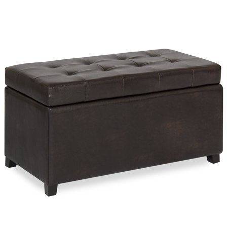 Best Choice Products Tufted Leather Storage Ottoman Bench Footrest for Home, Living Room w/ Lift Open Lid, Child Safety Hinge, and 440lb Capacity, Brown ()