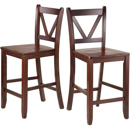 """Winsome Wood Victor 24"""" V-Back Counter-Height Stool, Set of 2, Walnut"""