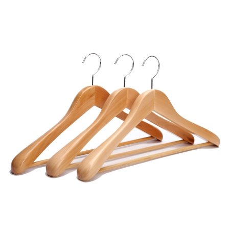 J.S. Hanger Extra Wide Shoulder Wooden Suit Hangers Natural Finish with Non-slip Bar, 3