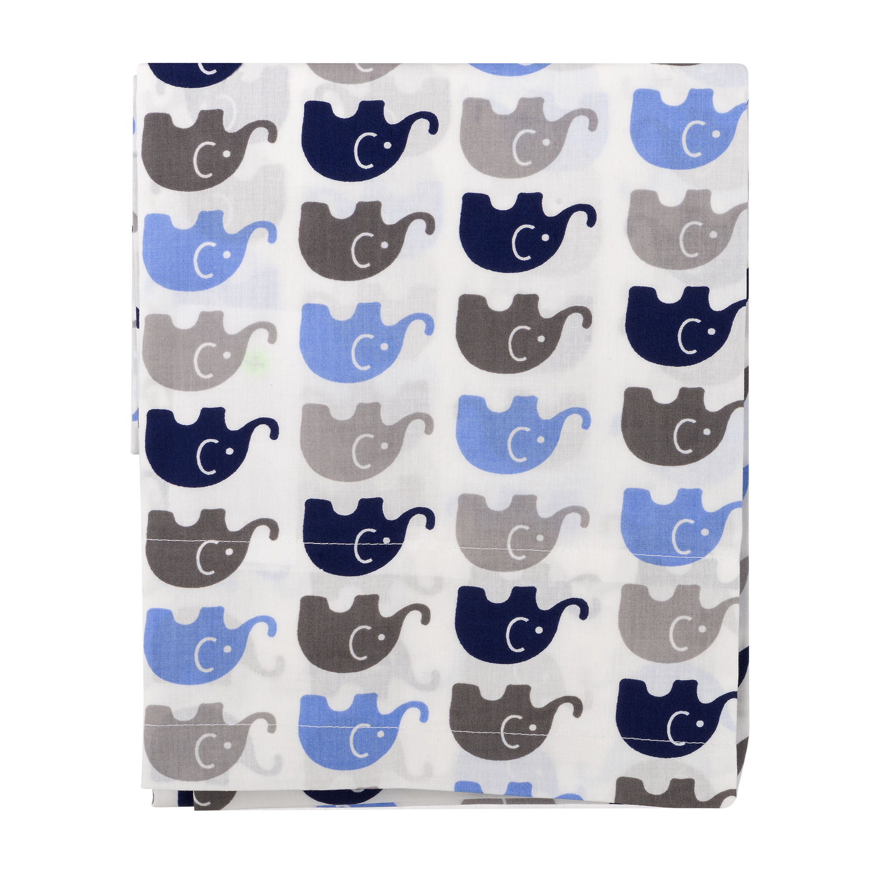 Bacati Curtain Panel Blue/Grey Mini Elephants, 1.0 CT