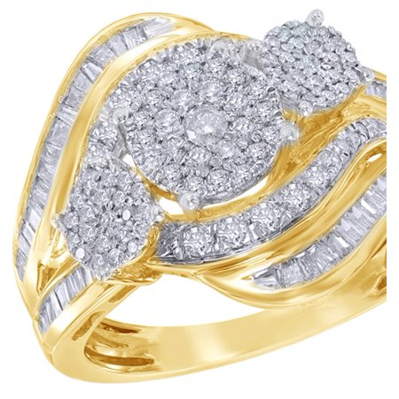 Round & Baguette White Natural Diamond Three Stone Clusterpass Ring in 10k Yellow Gold (1 cttw)