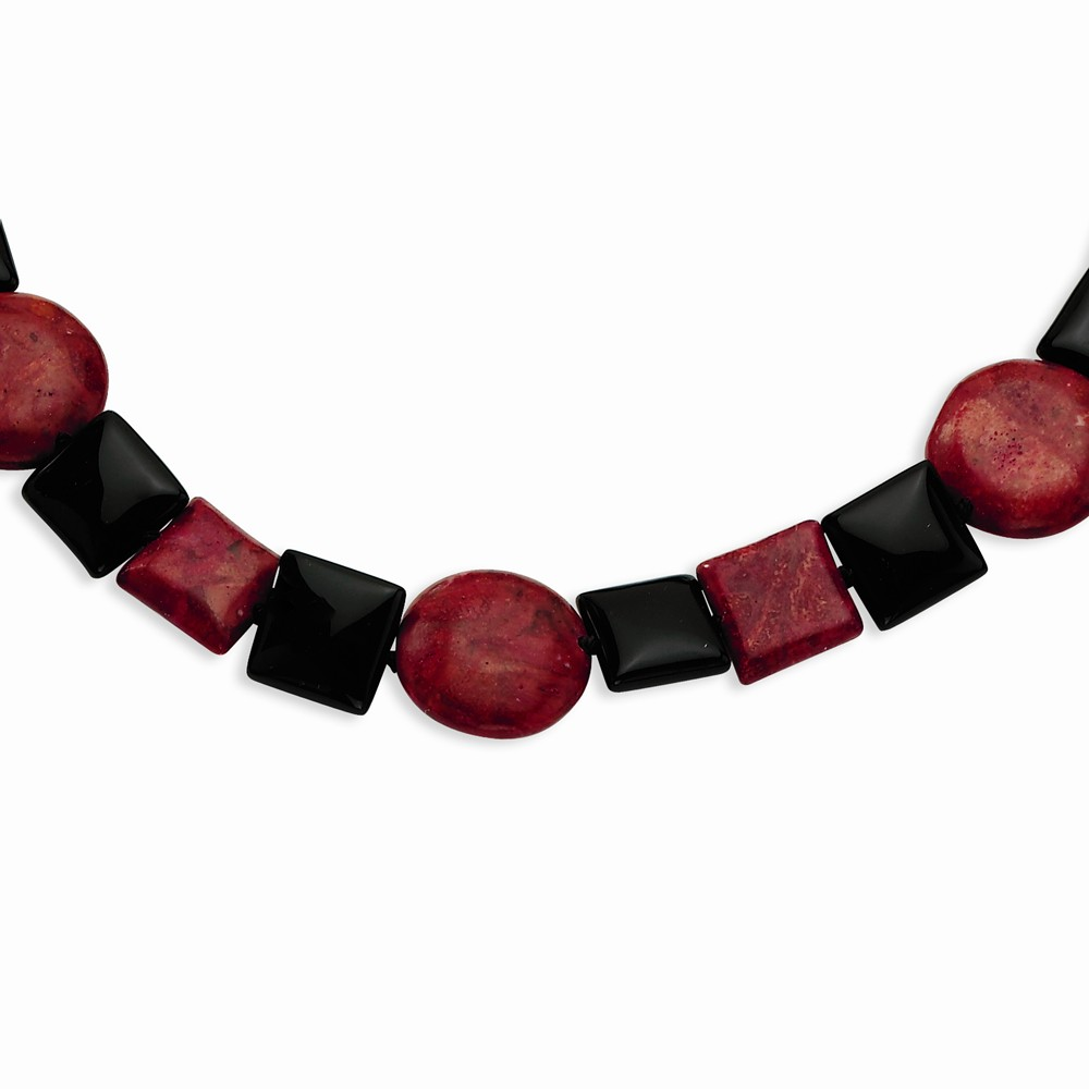 Sterling Silver Black Agate & Red Coral Necklace by Goldia
