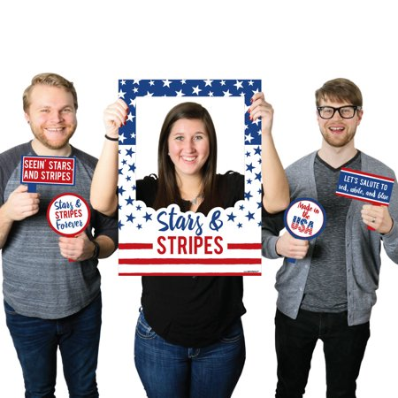 Stars & Stripes - Memorial Day Patriotic Party Selfie Photo Booth Picture Frame & Props - Printed on Sturdy Material (Patriotic Photo Frames)