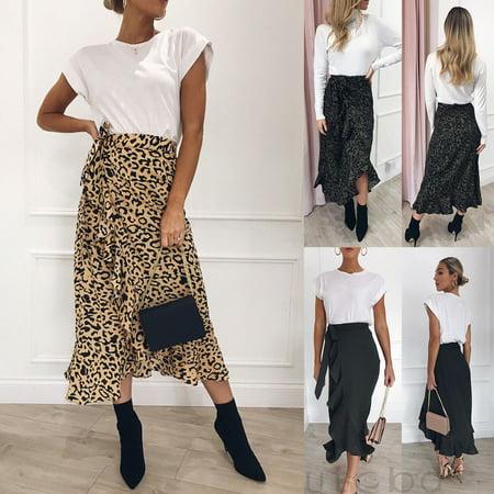 Womens Ladies Leopard Print Wrap Over Aysmmetric Skirt Midi Pair Sexy Dress  #700