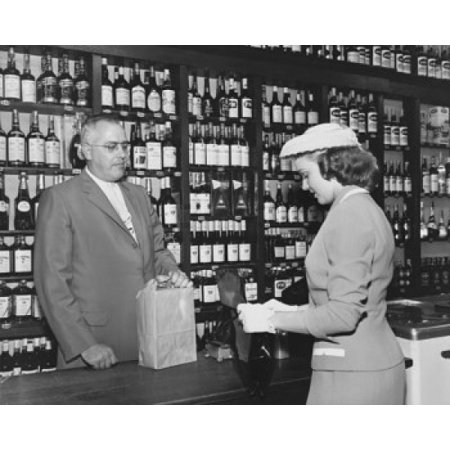 Young woman making a purchase at a liquor store Poster (Young Women Stores)