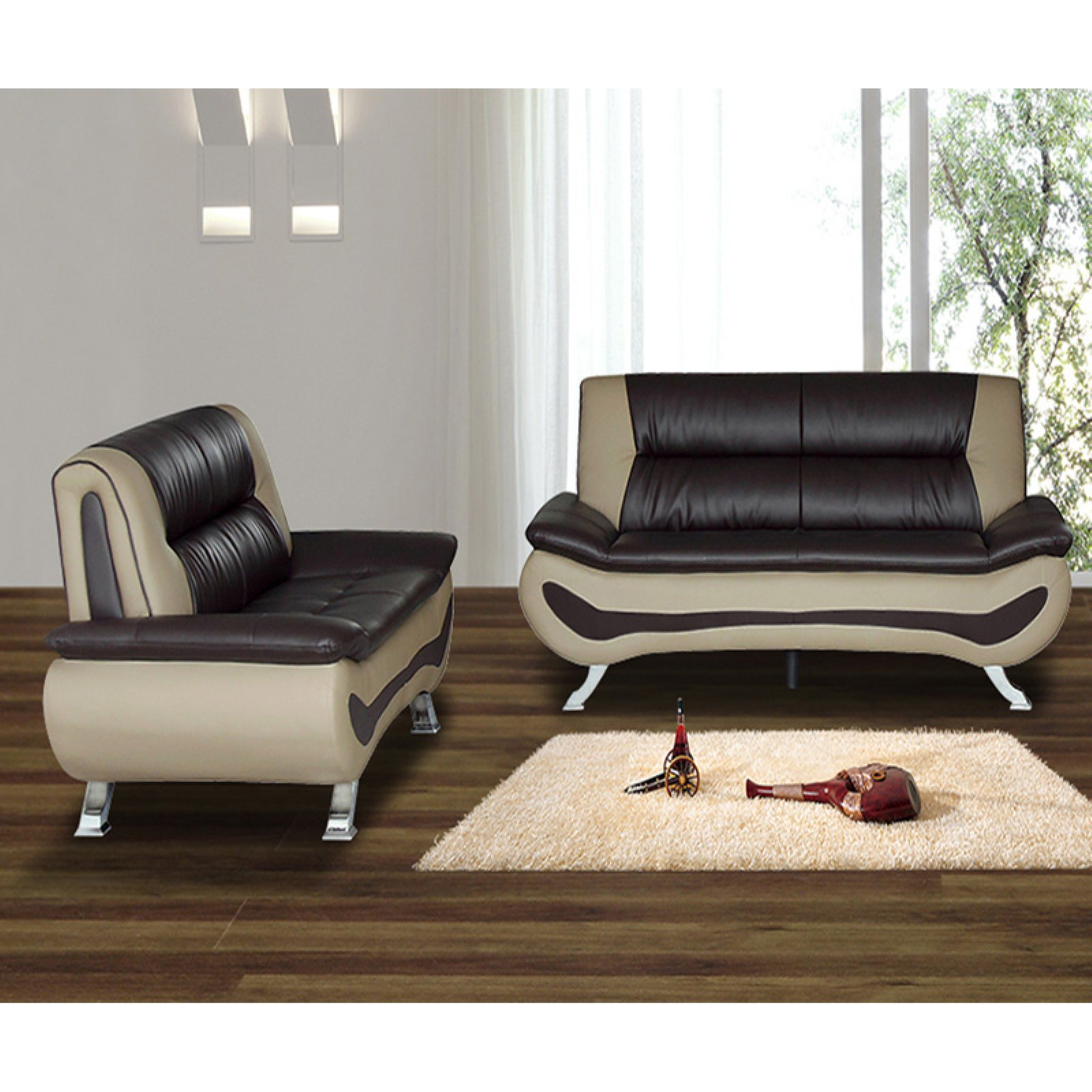 US Livings Alia Faux Leather Modern Sofa and Loveseat
