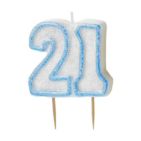 35 Blue Sparkle 21st Birthday Glitter Cake Decoration Molded