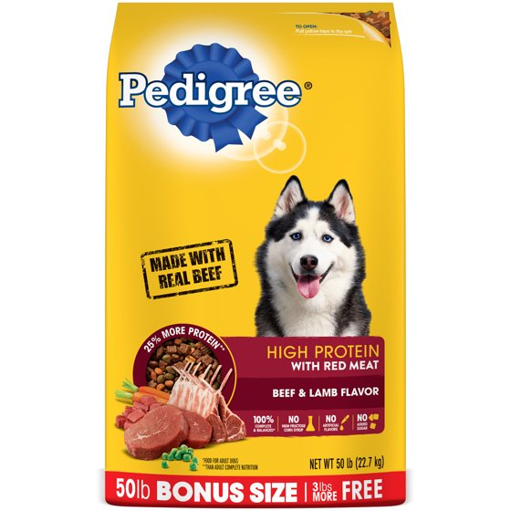 Pedigree High Protein Beef And Lamb Flavor Dry Dog Food 50 Pound Bonus Bag
