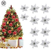 """Luxtrada 5.91"""" 12pcs/set Artificial Flower Glitter Poinsettia Flowers For Christmas Tree Ornament Wedding Party Home Decor (Gold)"""