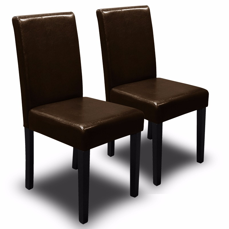 2PC Parson Dining Chair PU Solid Wood Leather Padded, Brown by