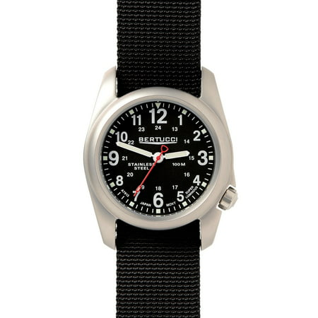 - Mens A-2S Field Analog Stainless steel Watch - Black Nylon Strap - Black Dial - 11050