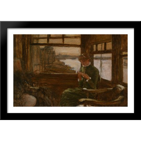 Study of Cathlene Newton in a Thames Tavern 40x26 Large Black Wood Framed Print Art by James Tissot