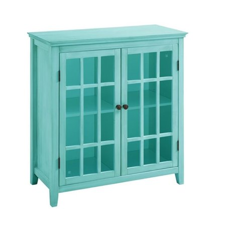 Bowery Hill Antique Double Door Curio Cabinet in Turquoise (Antique Cabinet Photograph)