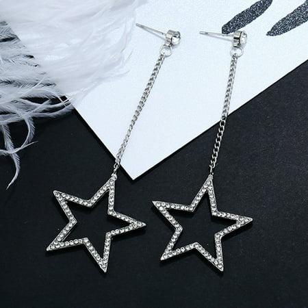 Girl12Queen Shiny Cubic Zirconia CZ Star Dangle Long Chain Drop Earrings Jewelry Women (Long Dangle Chain Earrings)