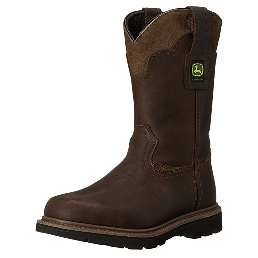 John Deere Men's 11'' All Around Steel Shank Pull-On Work Boots Brown Leather 10 W by John Deere