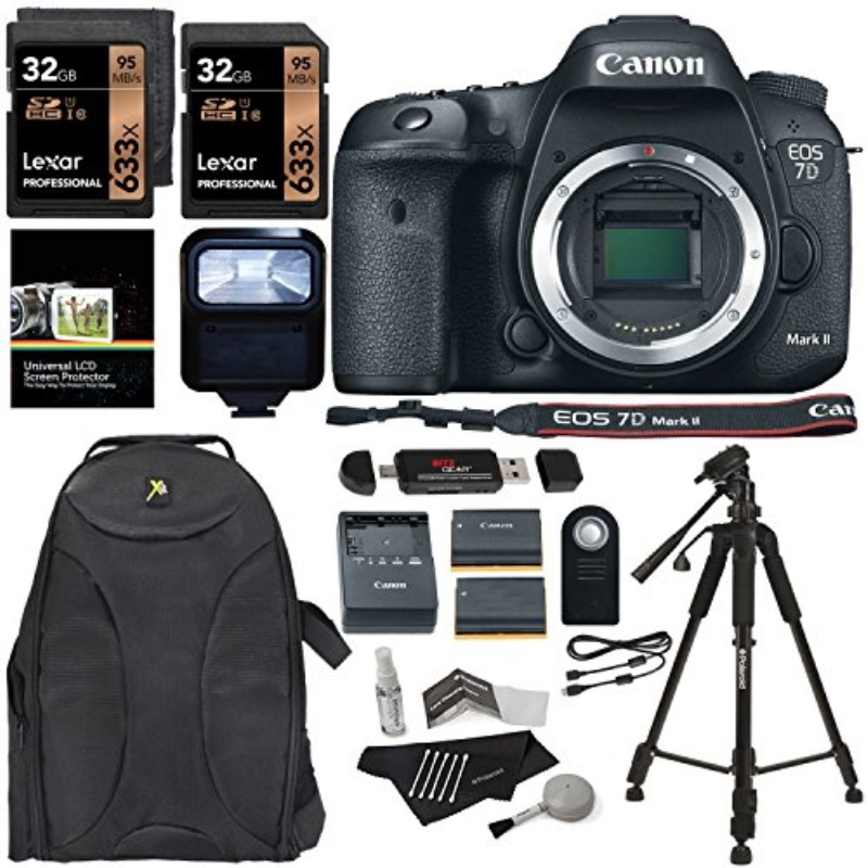 Canon EOS 7D Mark II Digital SLR Camera Body + Lexar Professional 633 x 32GB U1 (2 Pack) + Polaroid Deluxe Accessory Kit... by Ritz Camera