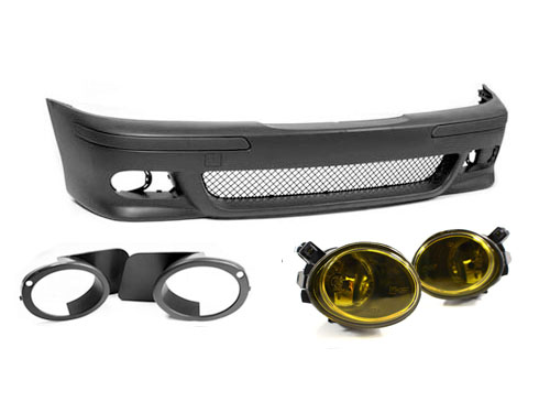 BMW E39 5-SERIES M5 STYLE FRONT BUMPER W// YELLOW FOG LIGHTS