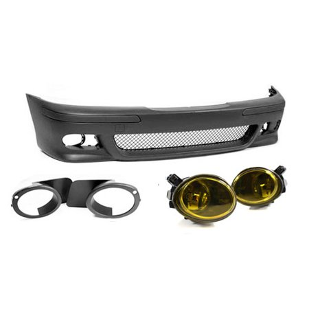 97-03 BMW E39 5-Series M5 Style Front Bumper W/ Yellow Ecode Fog Lights + Covers Bmw 318i Fog Light