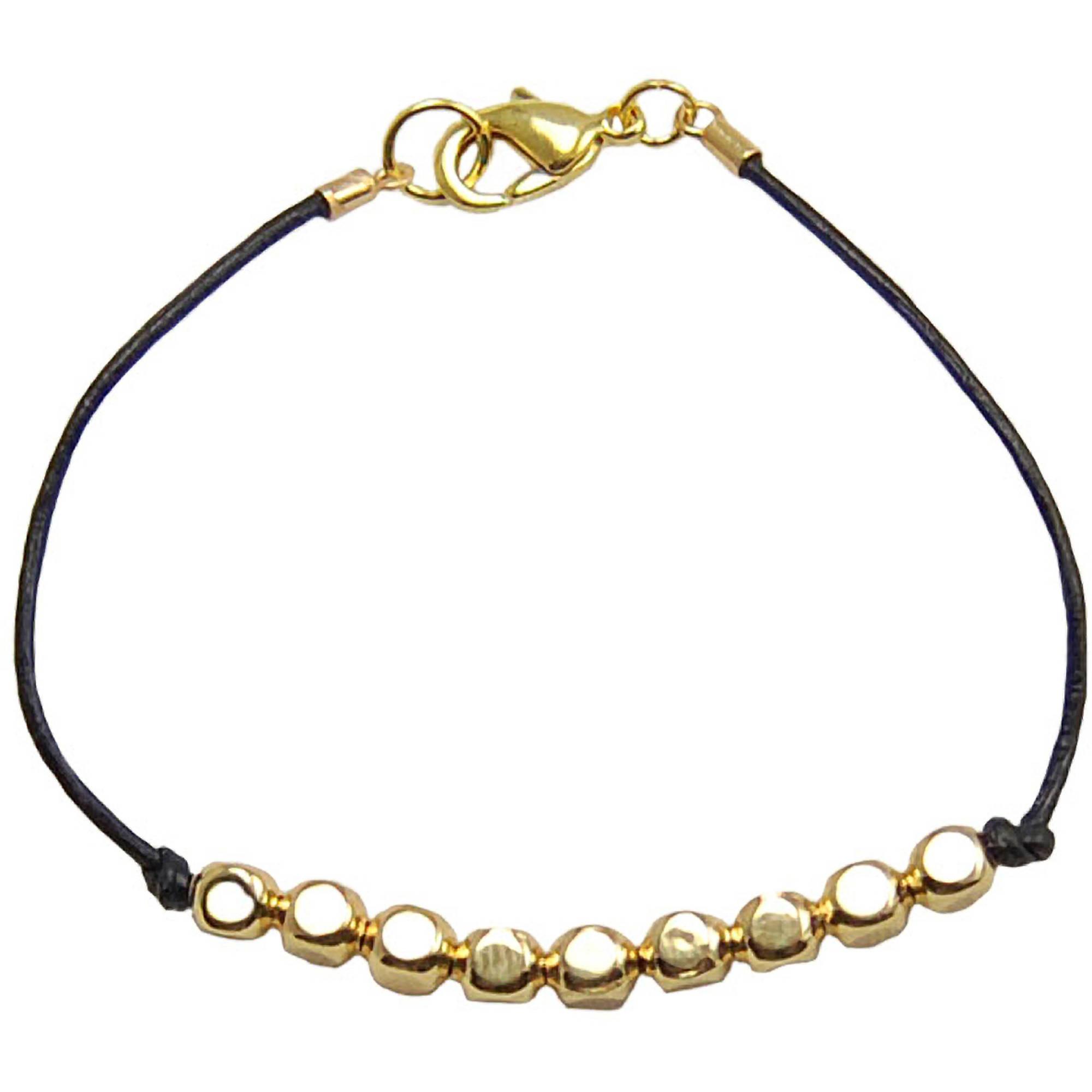 Miss Zoe by Calinana Dot Leather Bracelet, Black/Gold