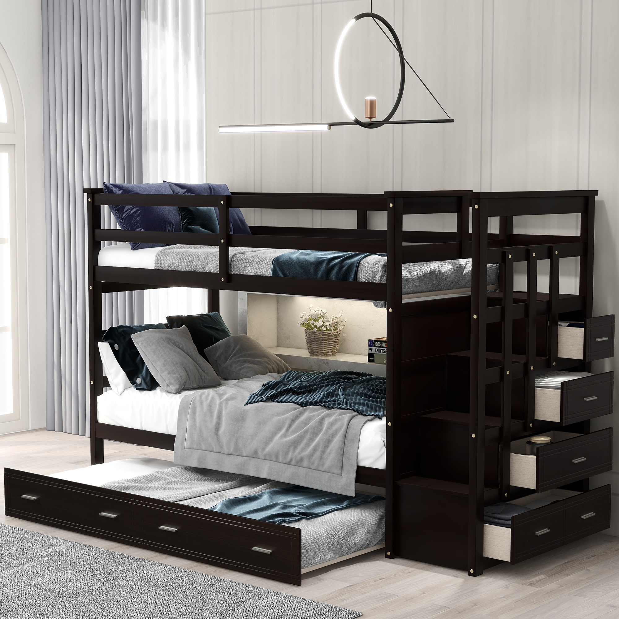 Euroco Twin Over Twin Bunk Bed With Trundle Storage Drawers Espresso Walmart Com Walmart Com