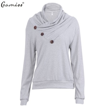 New Arrival Fashion (Gamiss Women's Decorative Buttons Delicate Cowl Neck Fashion Casual Long Sleeve Hoodies New Arrival )