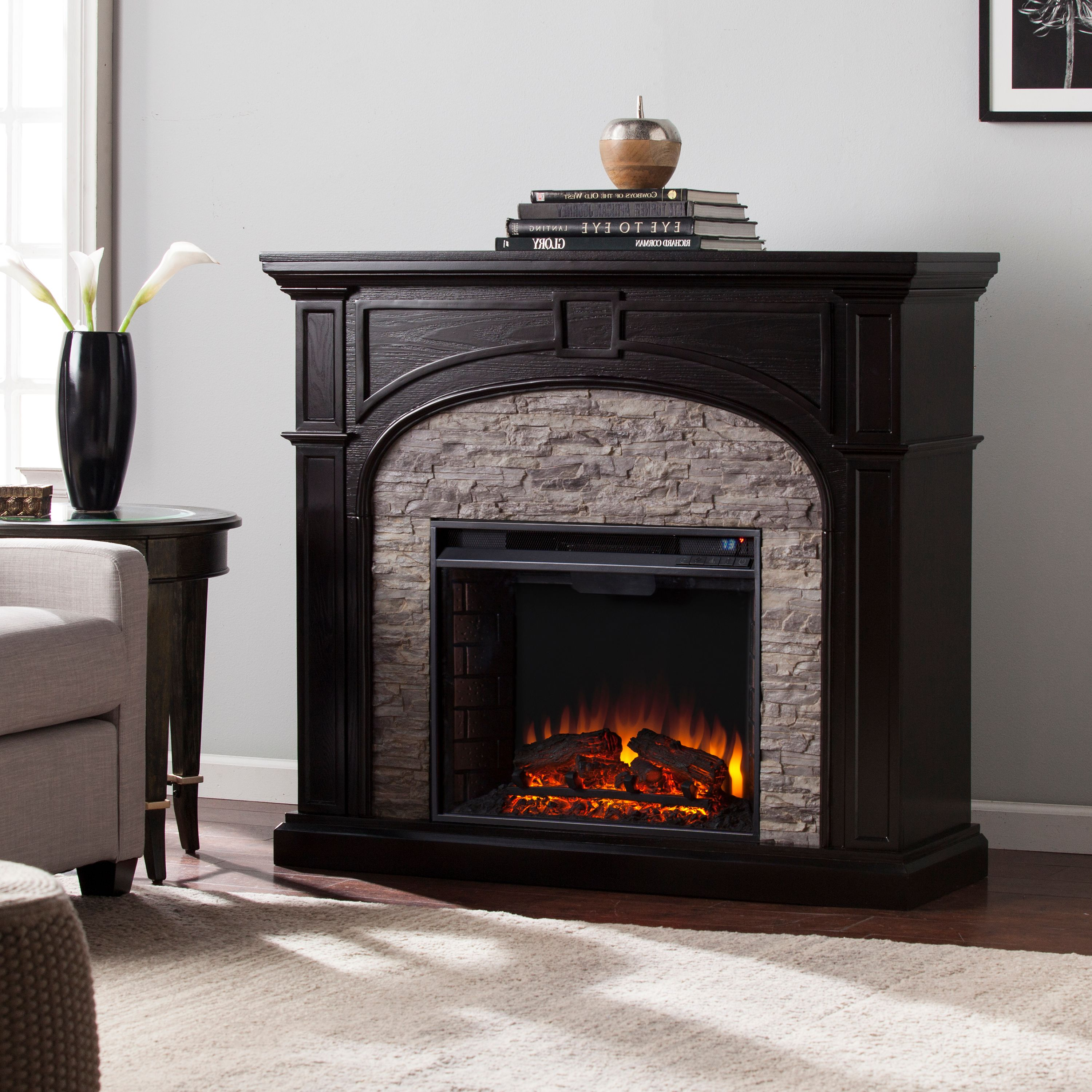 """Lambert Infrared Fireplace with Faux Stone For TV's up to 42"""" Ebony"""