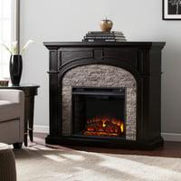 Lambert Infrared Fireplace with Faux Stone, Ebony