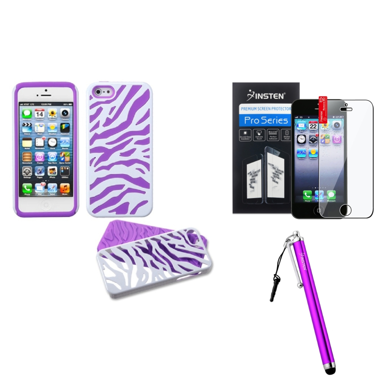 Insten Ivory White Zebra Skin/Electric Purple Fusion Case For iPhone 5S 5   Stylus   LCD Guard