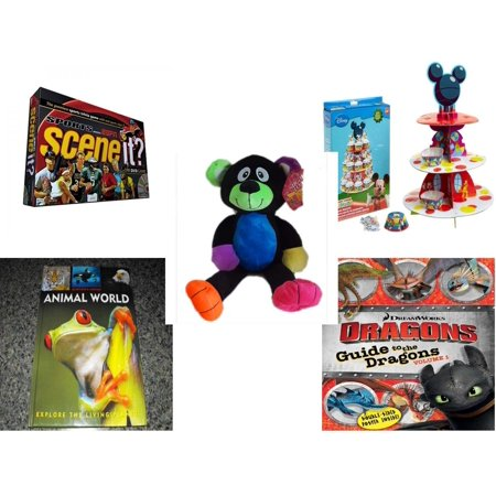 Children's Gift Bundle [5 Piece] -  Scene It? Sports Powered by ESPN - Wilton Mickey Mouse Clubhouse Cupcake Stand Kit  - Sugarloaf s Rainbow Black Bear  16