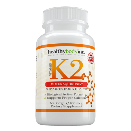 Vitamin K2 As Menaquinone-7 (60 soft gels), Promotes Healthy Bones, Cardiovascular & Arterial Support, Supports Calcium Metabolism, By Healthy (Calcium Cosmetics Gel)