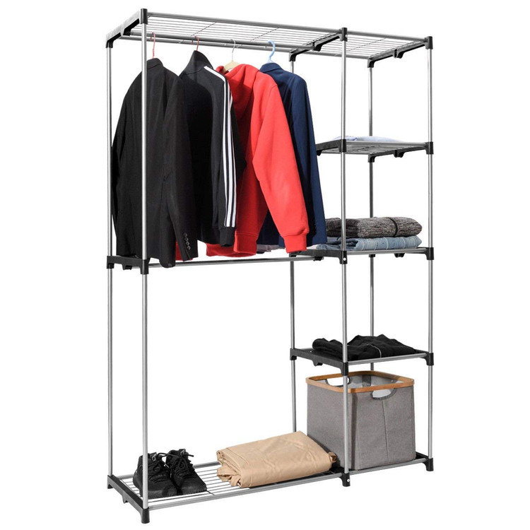 Delicieux Sunrain Heavy Duty Deluxe Double Rod Closet Garment Rack Metal Free  Standing Sturdy Wardrobe Clothes Storage