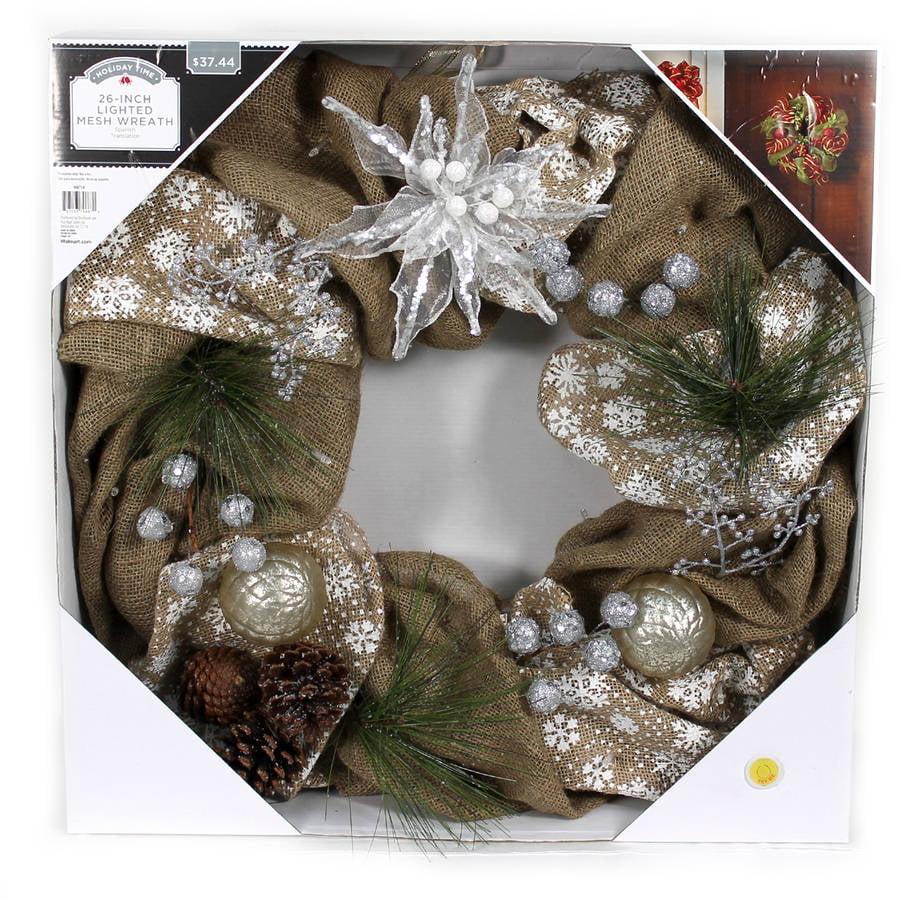 "Holiday Time Christmas Decor 26"" LED Lighted Burlap Mesh Wreath"