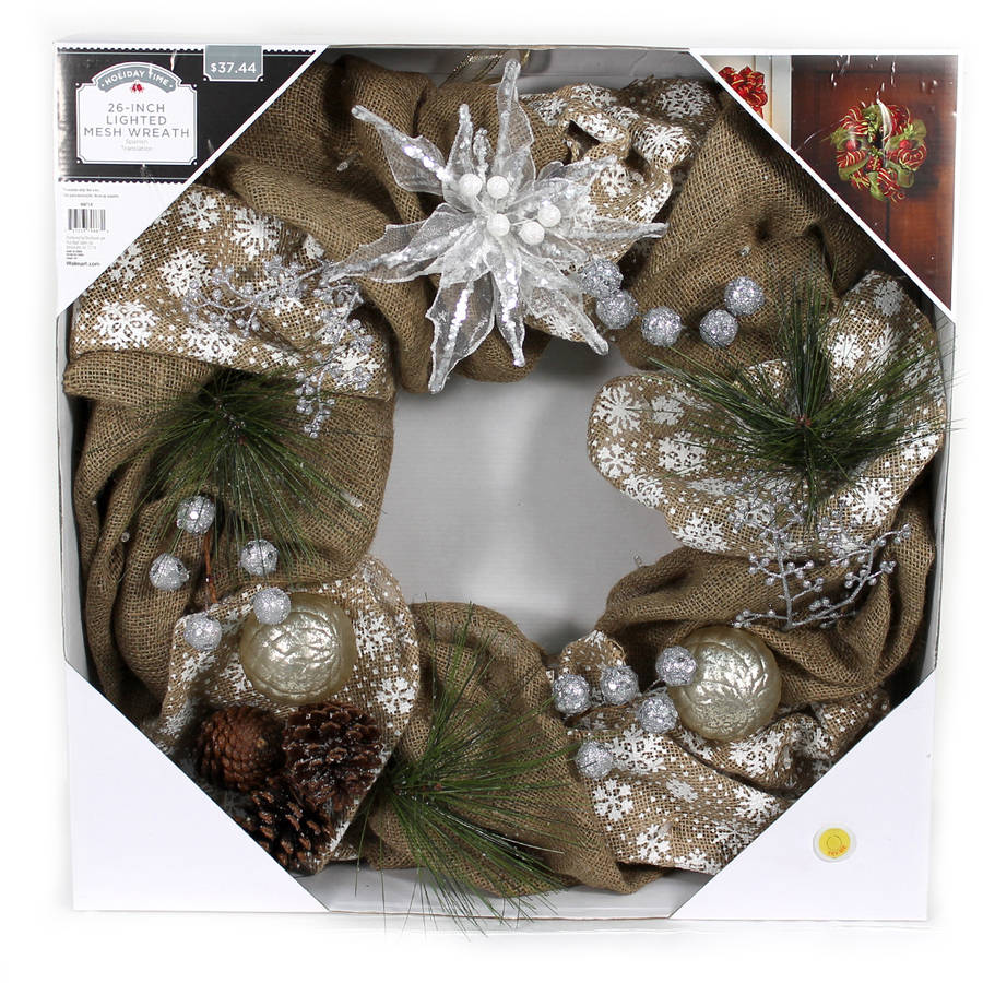 "Holiday Time Christmas Decor 26"" LED Lighted Burlap Mesh Wreath"