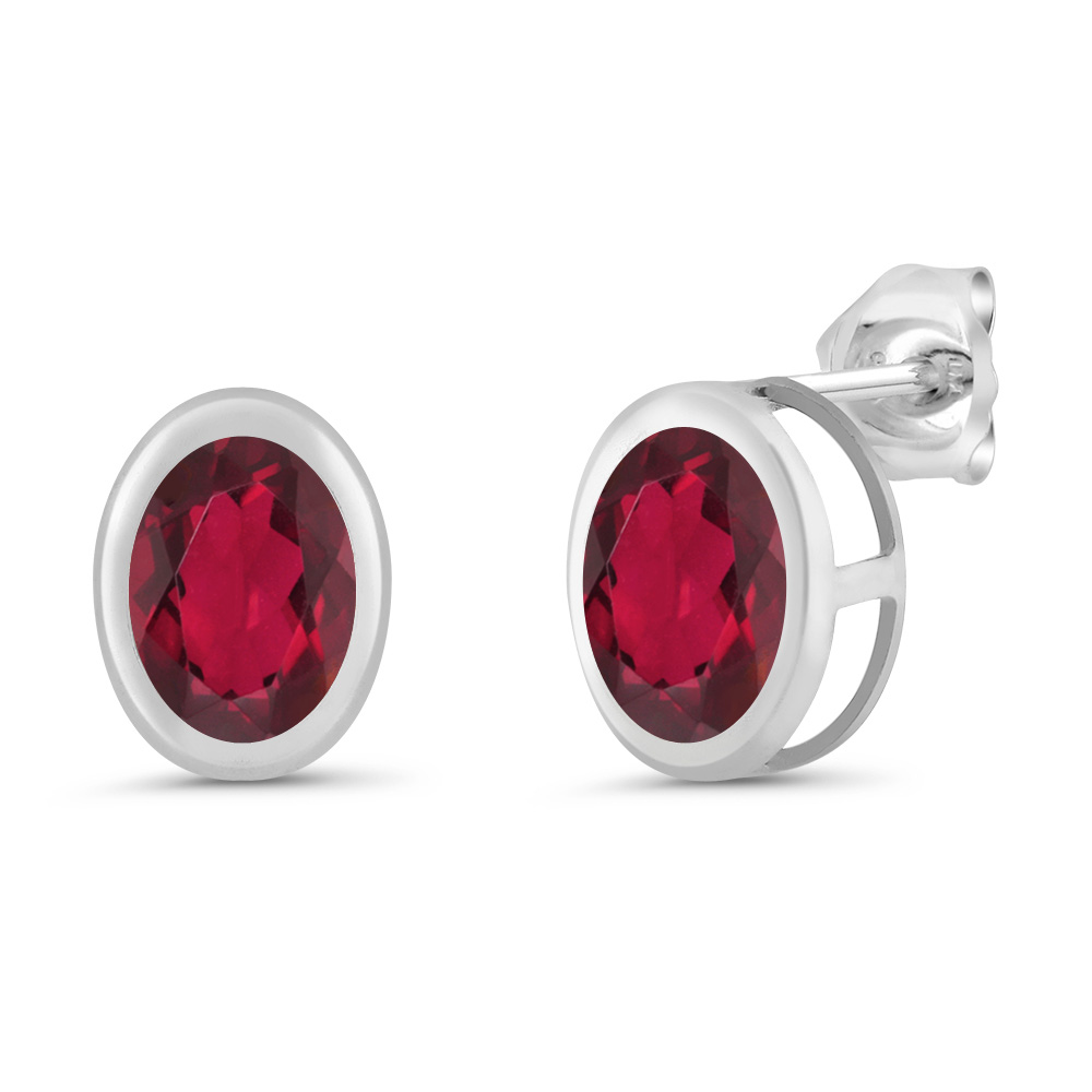 1.60 Ct Oval 7x5mm Red Mystic Topaz 925 Sterling Silver Stud Earrings