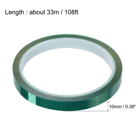 Heat Resistant Tape - High Temperature Heat Transfer Tape PET Film Adhesive Tape Green 10mm x 33m(108ft) - image 1 de 2