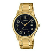 MTP-V002G-1B Men's Standard Gold Tone Black Easy Reader Dial Analog Watch