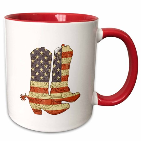 3dRose USA Flag Cowboy Boots patriotic art - Two Tone Red Mug, 11-ounce
