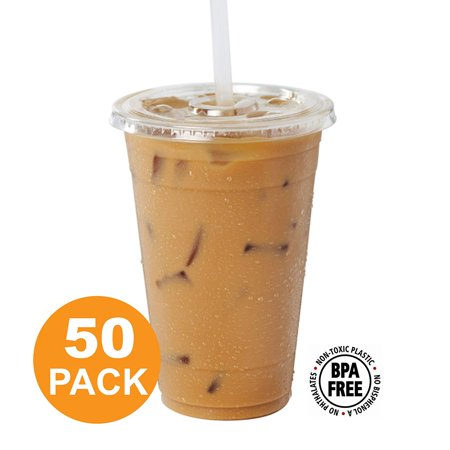 Clear Plastic Cups with Flat Slotted Lids for Iced Cold Drinks 20 Ounce, Disposable, Large Size [50 Pack]