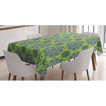 Lime Green Tablecloth, Arabesque Oriental Moroccan Mandala Middle Eastern Boho Retro Pattern, Rectangular Table Cover for Dining Room Kitchen, 60 X 84 Inches, Fern Green White, by - Lime Green Tablecloth