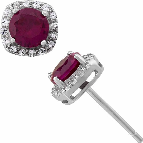Created Ruby and White CZ Sterling Silver Round Halo 5mm Stud Earrings