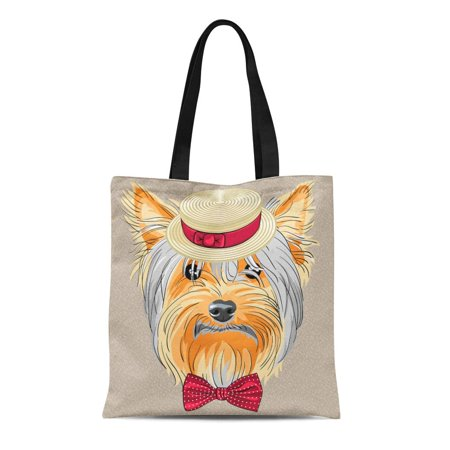 LADDKE Canvas Tote Bag Hipster Dog Yorkshire Terrier Breed in Straw Boater Reusable Shoulder Grocery Shopping Bags Handbag