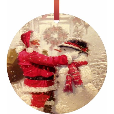 Santa Making a Snowman  Flat Round - Shaped Christmas Holiday Hanging Tree Ornament Disc Made in the U.S.A. ()