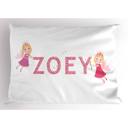 Zoey Pillow Sham Feminine Themed Baby Girl Name Magic Creatures Calligraphic Alphabet Letter Design, Decorative Standard Size Printed Pillowcase, 26 X 20 Inches, Multicolor, by Ambesonne