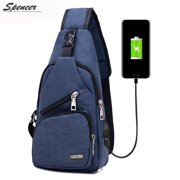 "Spencer Men Crossbody Chest Backpack Messenger Shoulder Sling Bag Daypack with USB Charging for Travel(6.3"" * 2.7"" * 12.6"", Blue)"
