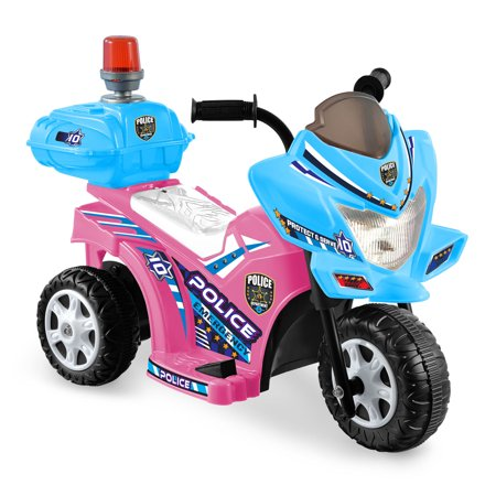Kid Motorz Lil Patrol In Light Pink with Blue - with Siren Light & Storage Box ( 6V ) (Kid Store Online)