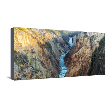 High angle view of a waterfall, Lower Yellowstone Falls, Grand Canyon, Yellowstone National Park... Stretched Canvas Print Wall Art