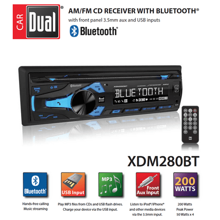 Dual Electronics XDM280BT Multimedia Detachable 3.7 inch LCD Single DIN Car Stereo with Built-In Bluetooth, CD, USB, MP3 & WMA Player Denon Dual Cd Player