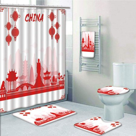 EREHome Ancient China Travel Landmarks Traditional Oriental Cultural Tourism 5 Piece Bathroom Set Shower Curtain Bath Towel Bath Rug Contour Mat and Toilet Lid Cover - image 1 de 2